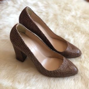 J. crew Stella brown houndstooth pumps
